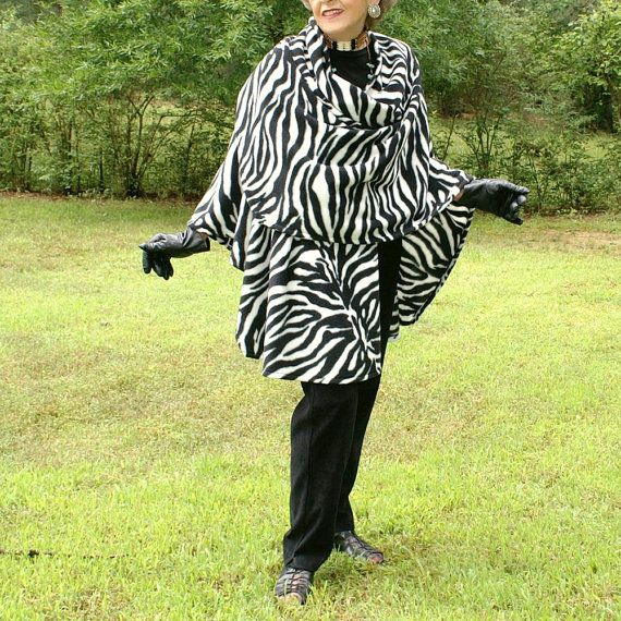 Black and White Zebra Design Anti Pill Fleece Shawl by youngbear