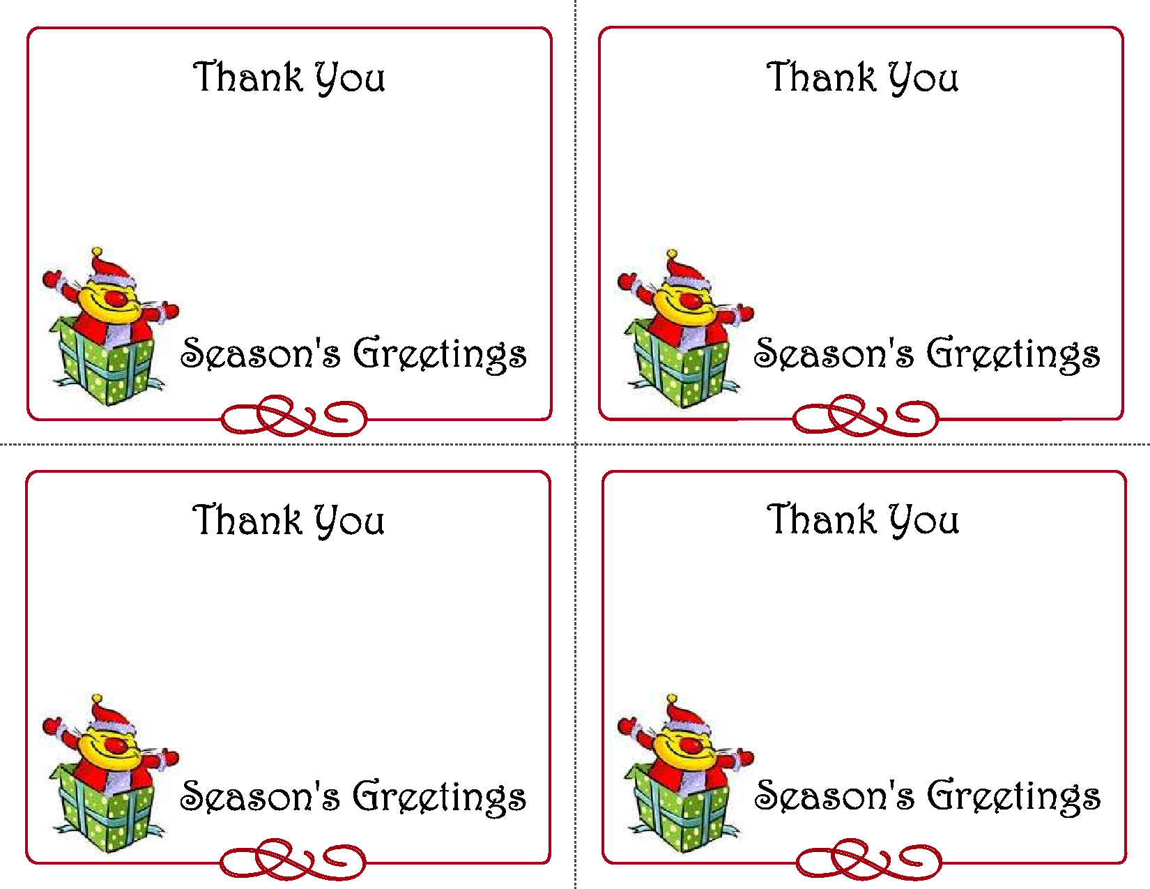 Christmas Thank You Card Templates Free - Best Sample ...