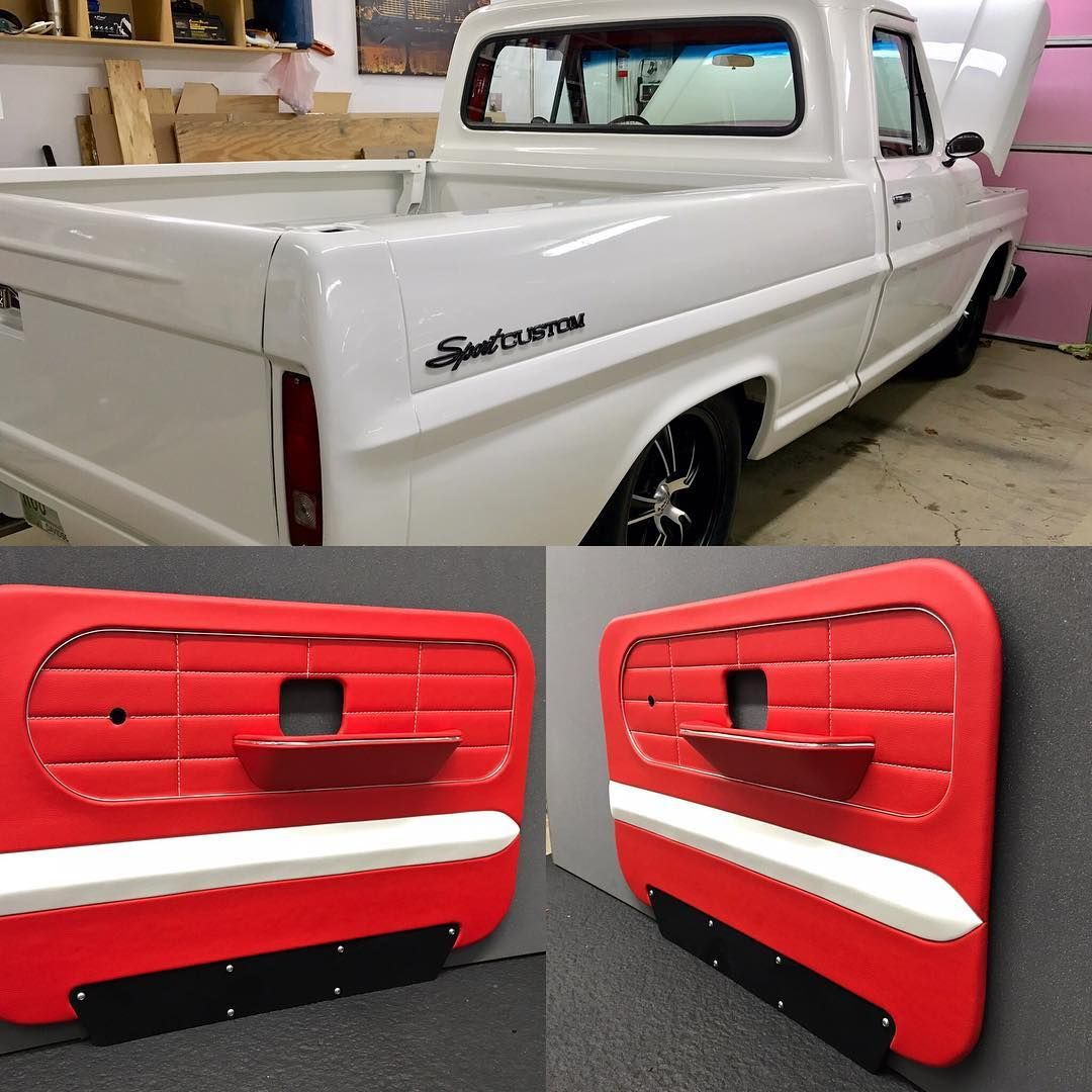 Ford Sport Custom Truck Awesome Red Black And White Door Panels Contrast Stitching Ford Pickup Trucks Ford Trucks White Truck