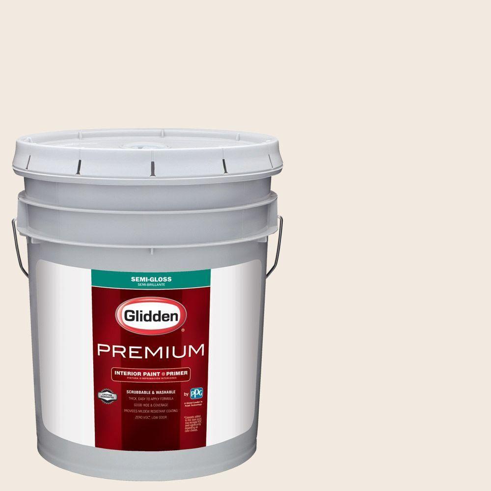 Glidden Premium 5 Gal Hdgwn03 Antique White Semi Gloss Interior Paint With Primer