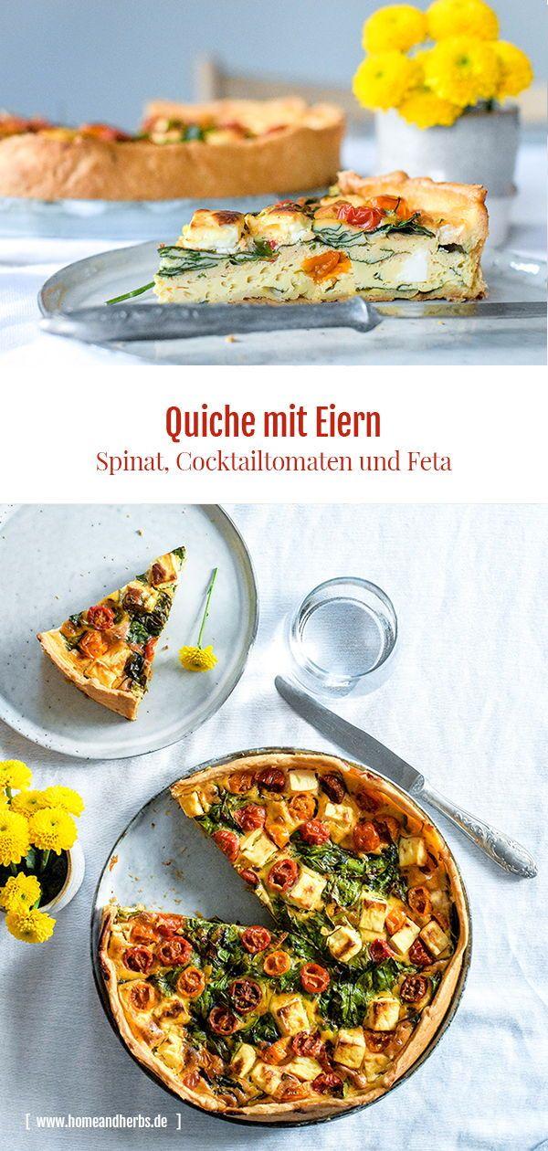 Eier-Quiche mit Spinat, Tomaten und Feta - Home and Herbs #frühstückundbrunch