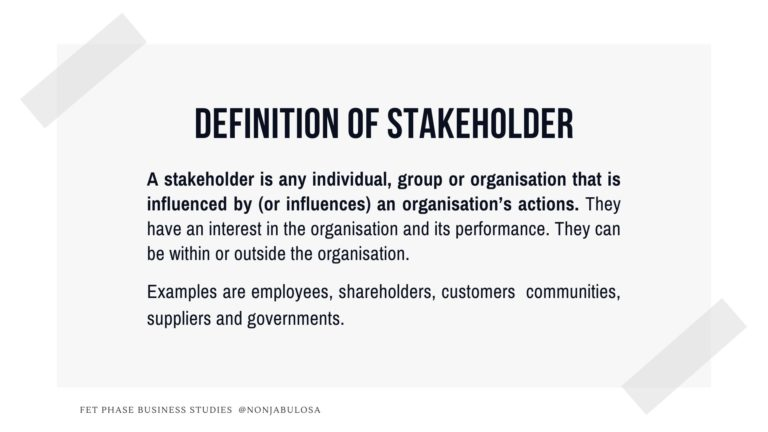 Definition Of Stakeholder ǀ Business Studies Social Responsibility Basic Business Concepts Business Studies Business Business Process