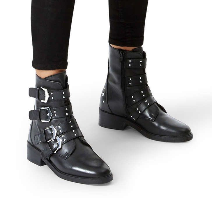 Scant Black Leather Biker Boots By