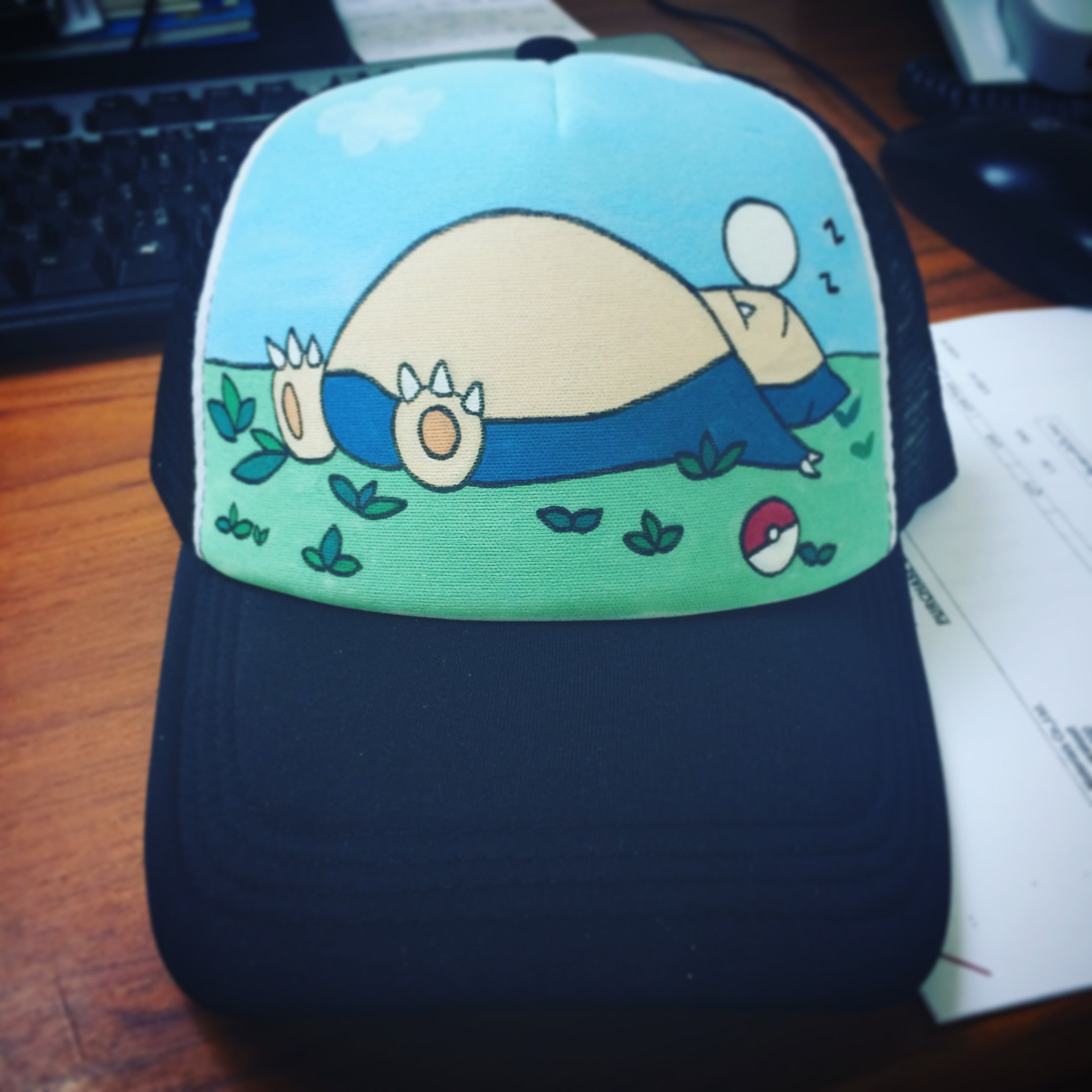 3257df3c5bc Snorlax Cap Hands Painting  cap  painting  snorlax  pokemon