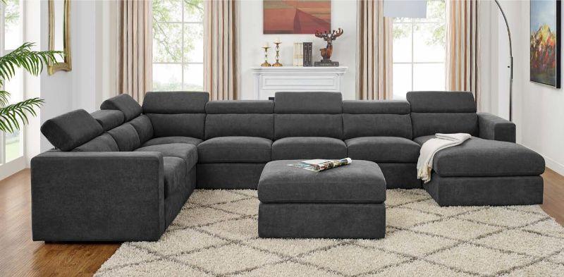 Oah D6060 4 7 Pc Latitude Run Samual Dark Gray Chenille Fabric Modular Sectional Sofa Set With Chaise Modular Sectional Sofa Modular Sectional Sectional Sofa