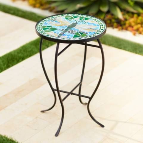 Dragonfly Mosaic Black Iron Outdoor Accent Table - #6F094 ... on Outdoor Living Iron Mosaic id=27887