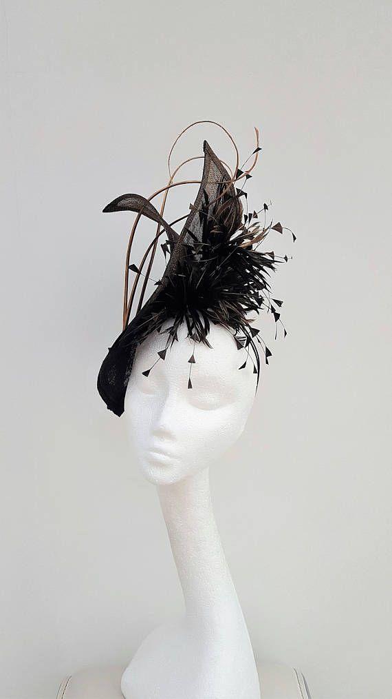 Striking black hatinator. Antique Gold Fascinator. Wedding Headpiece.  Mother of the Bride Hat. Wedding fascinator. Royal Ascot fascinator. 45bb14c7d70