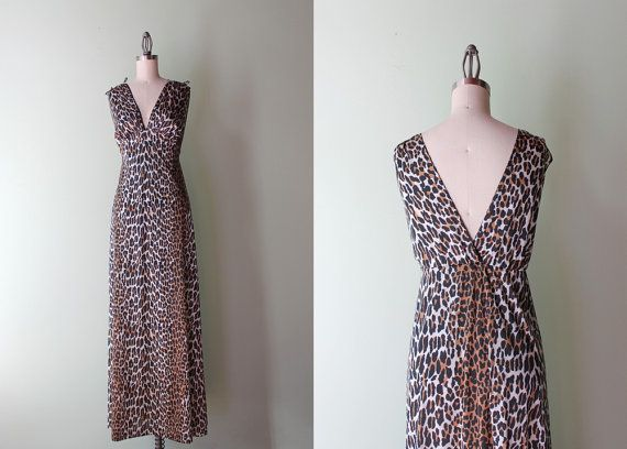1960s / 1970s maxi length, leopard print, nylon negligee with plunging  V neckline back and front, drawstring  bows at the shoulders, black lace trim