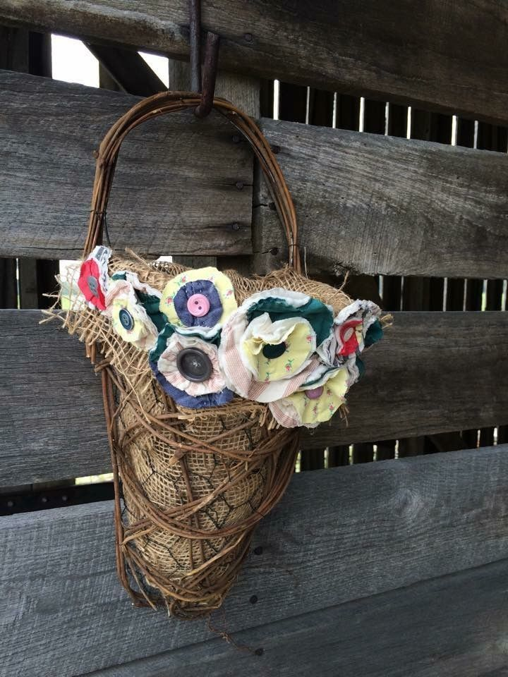 Posey basket with chicken wire and burlap