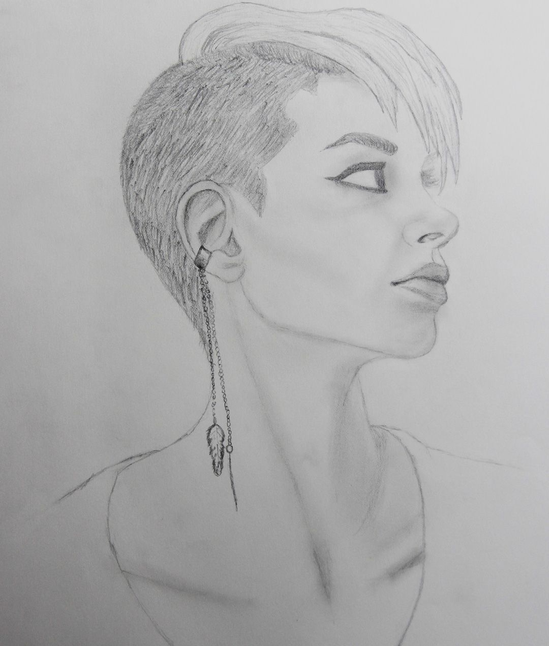 drawing of shaved head punk girl. undercut hairstyle