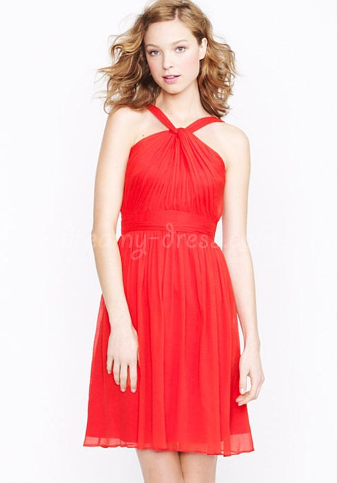 Chiffon A-Line Halter Sleeveless Natural Waist Short Length Bridesmaid Dress with Ruching
