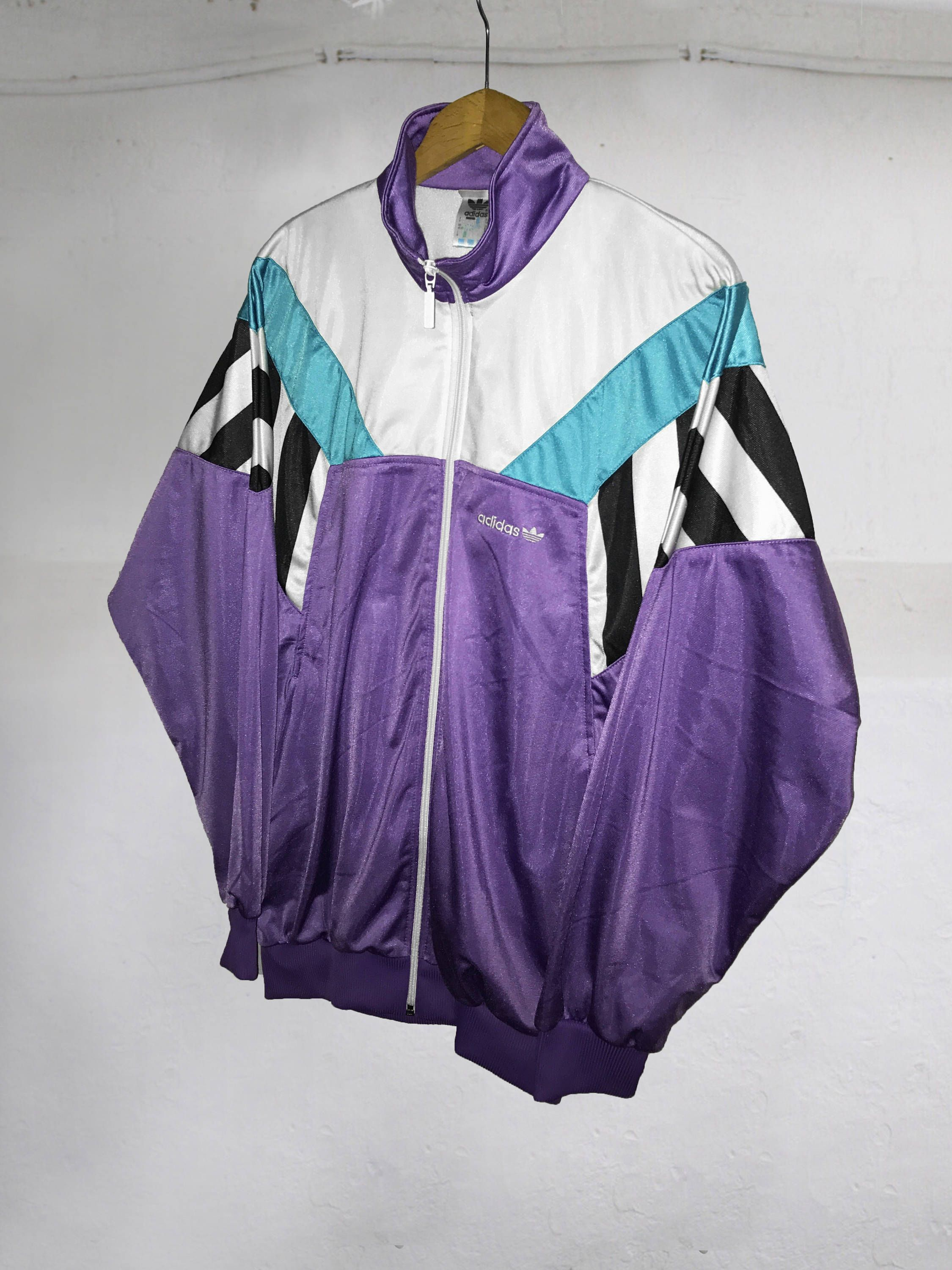 5e47af63d3fc Vintage 90s Adidas Trefoil Cut and Saw Windbreaker Tracksuit Top jacket  Color Block white Purple Black Green Size M D180 by VapeoVintage on Etsy