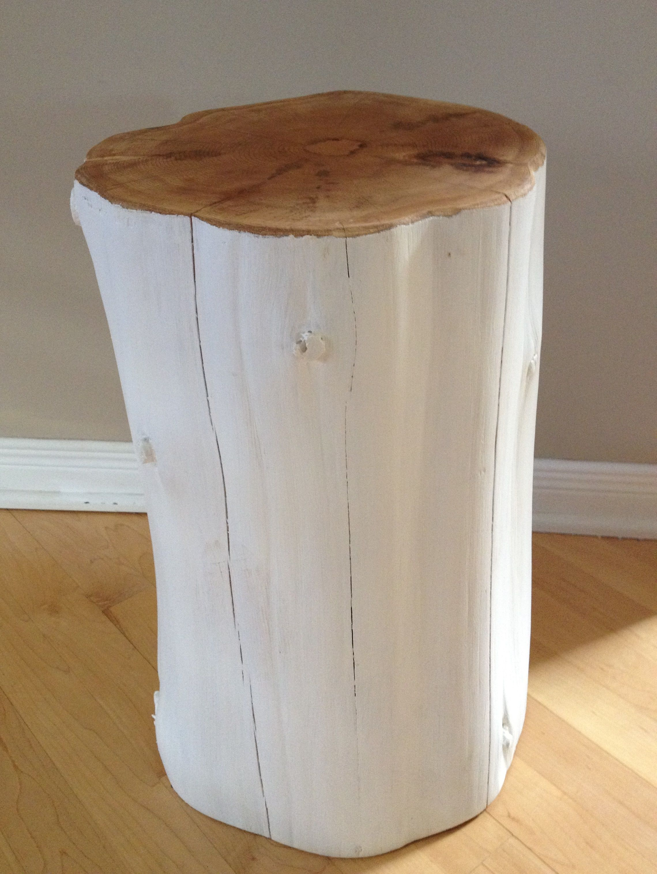White stump tables with natural top. Can be left natural or painting any colour! Ottawa, Ontario Canada Serenitystumps.com