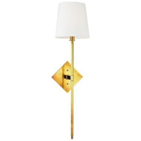 "Photo of Hudson Valley Cortland Aged Brass 25 1/2 ""Tall Wall Light – # U3078   Bulbs Plus"