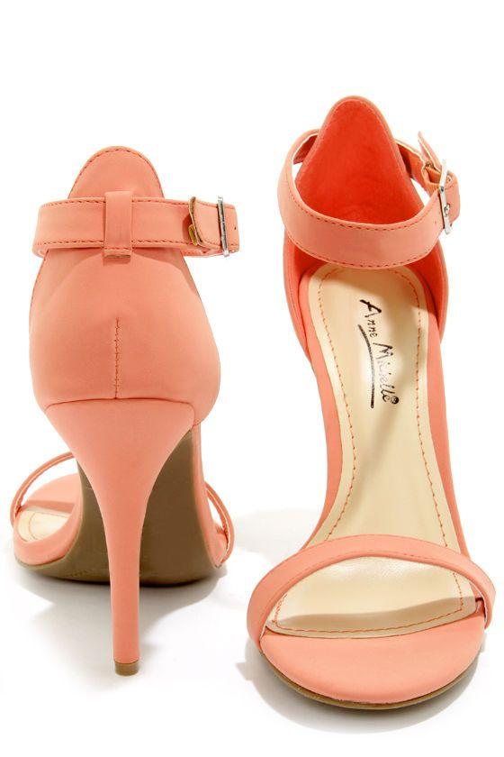 Anne Michelle Enzo 01 Melon Coral Single Strap Heels