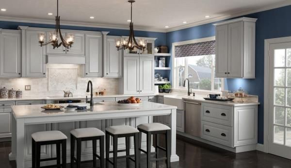 classic cabinets from american woodmark are now available in a gray stone finish  classic cabinets from american woodmark are now available in a      rh   pinterest com