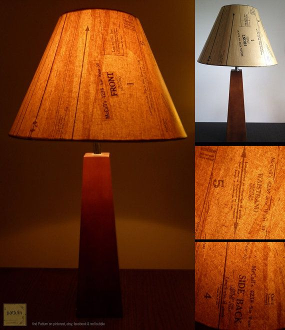 Upcycled Recycled Repurposed   sewing pattern lamp by patturn, $79.99