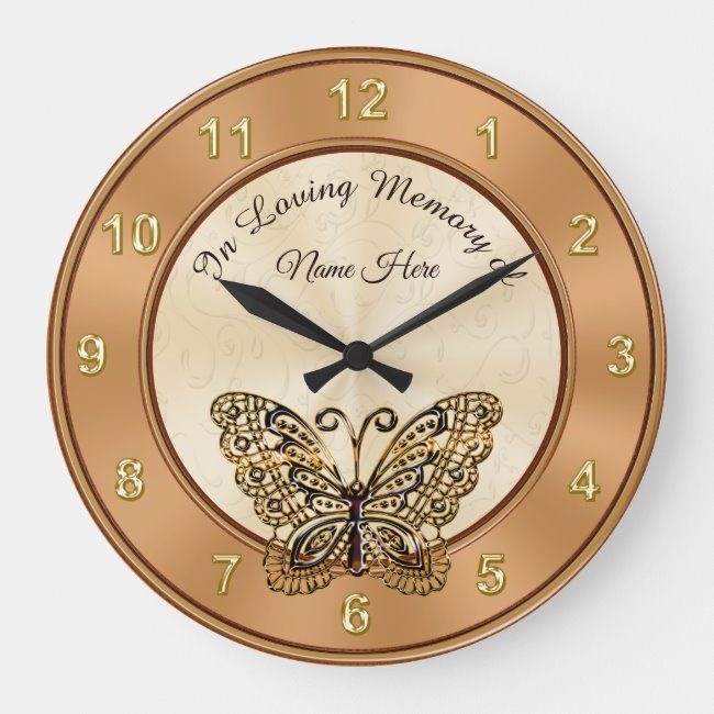 Butterfly Personalized In Loving Memory Gifts Large Clock #in #loving #memory #butterfly #gold #LargeClock #kids #childrens #personalized #clocks #gifts #giftideas #kidsclock #childrensclock #clockforkids #kidsroomdecor #kidswallclock #childrenswallclock