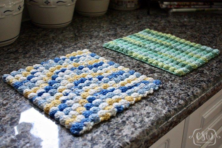 Easy Bobble Stitch Hot Pad | Agarraderas, Flores tejidas y Baño