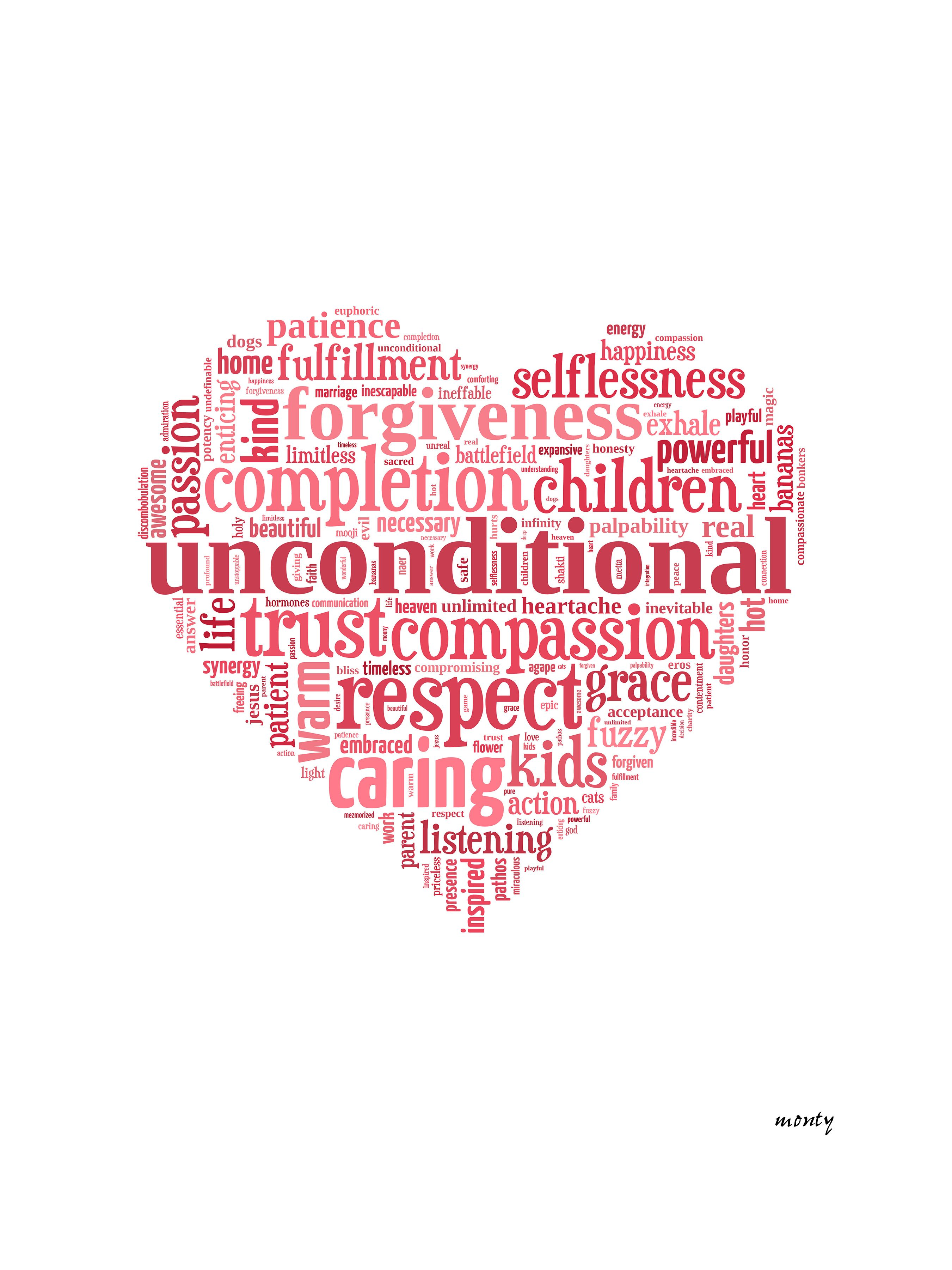 Describe Love in one word.. created from responses from