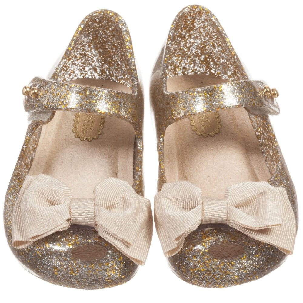 de5a1fce6 Girls Gold   Silver Glitter Jelly Shoes with Bow