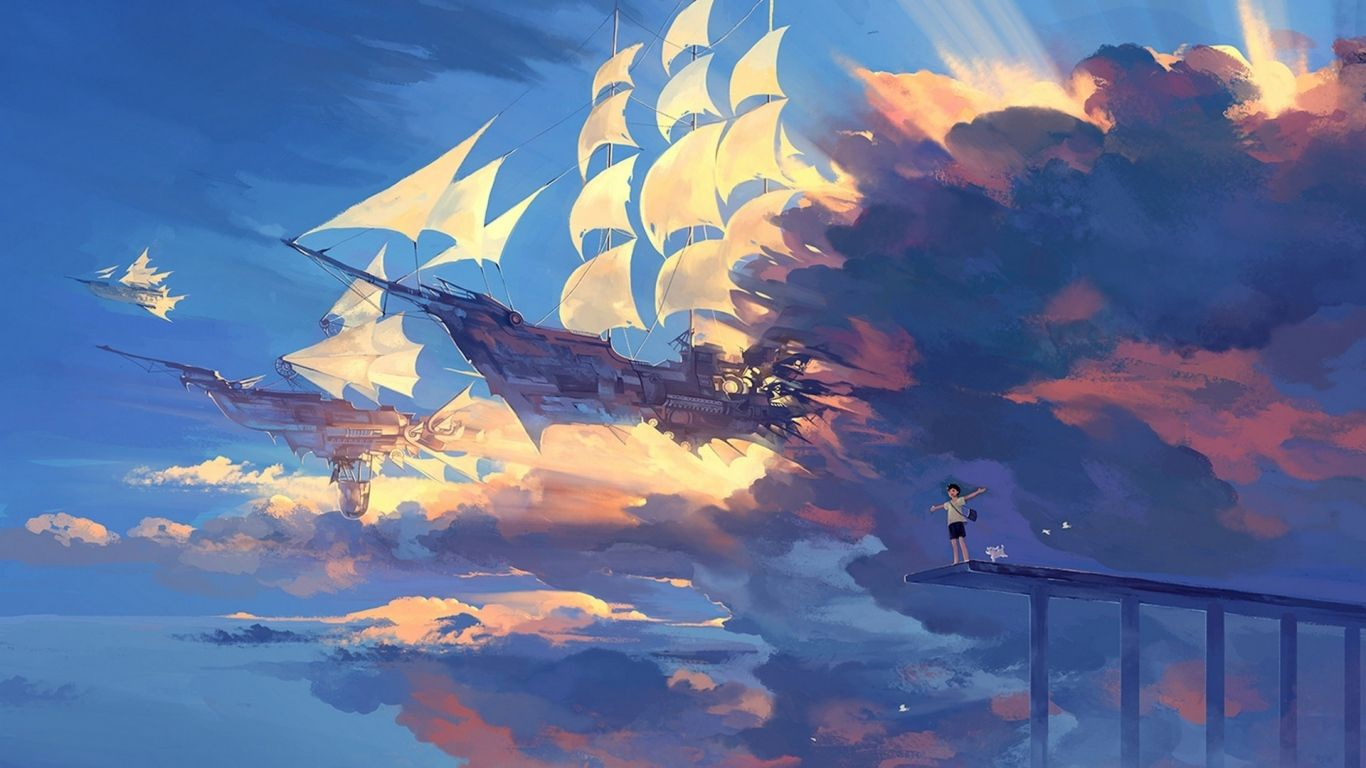 1366x768 wallpaper hanyijie, sky, scenery, ship, anime, art | a r t