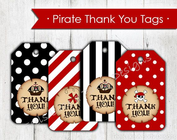 Pirate Thank You Tags Instant Download por FeelsLikeAParty en Etsy