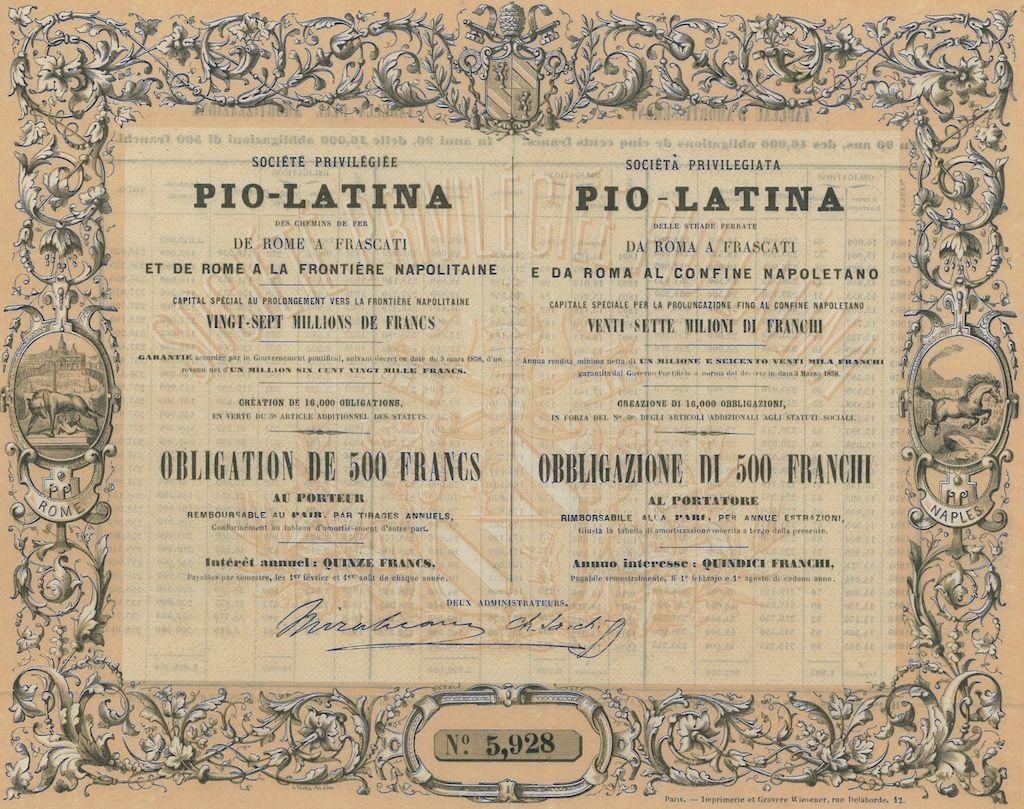 PIO - LATINA  SOC. PRIV. - #scripomarket #scriposigns #scripofilia #scripophily #finanza #finance #collezionismo #collectibles #arte #art #scripoart #scripoarte #borsa #stock #azioni #bonds #obbligazioni