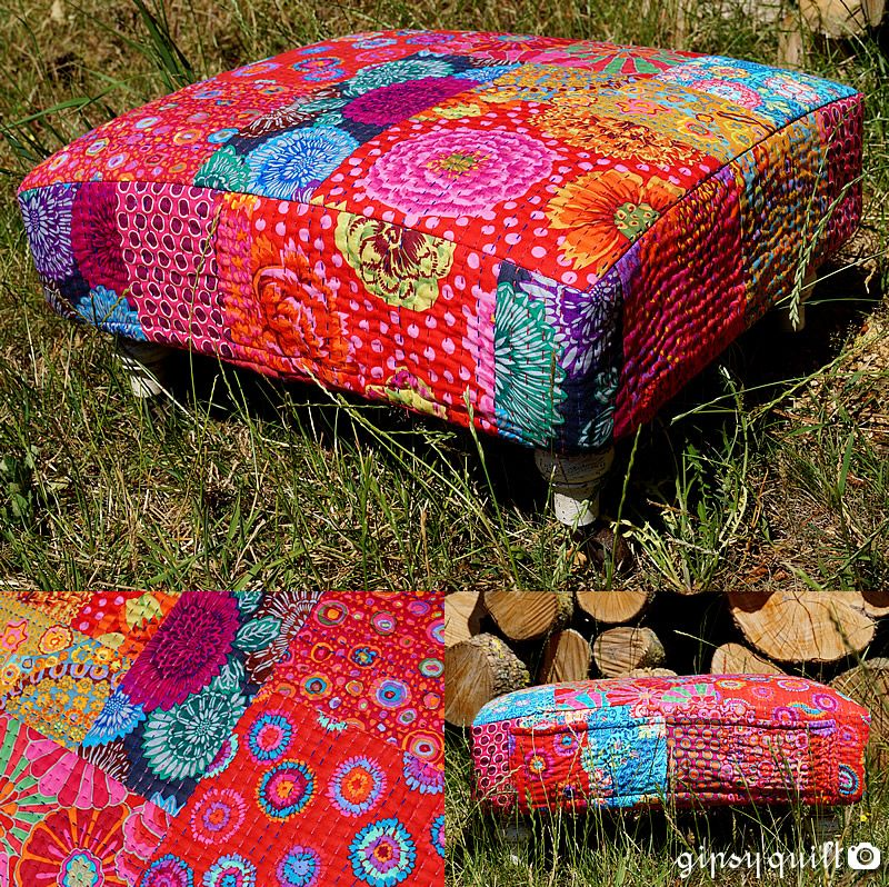 gipsy quilt ottoman a roulettes