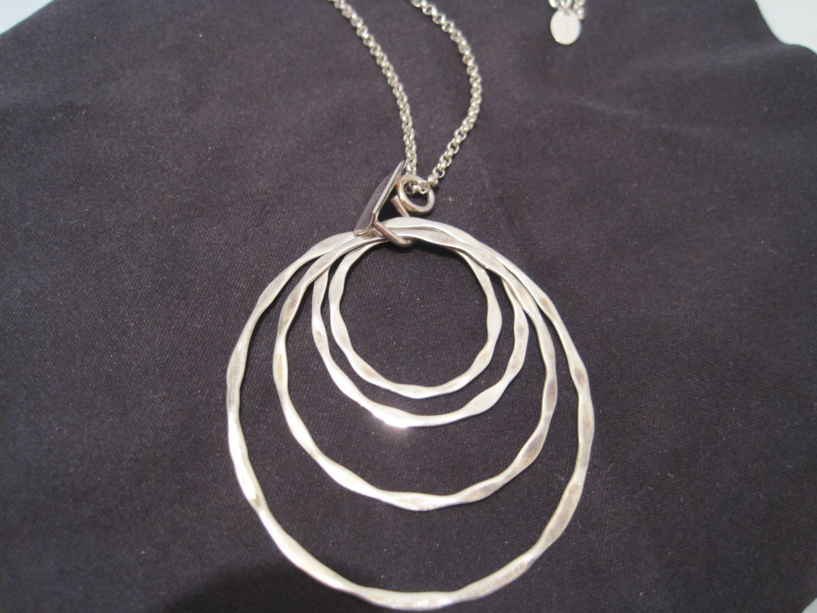 """Highly Collectable Robert Lee Morris Sterling Circle Disc pendant Necklace 18"""" 