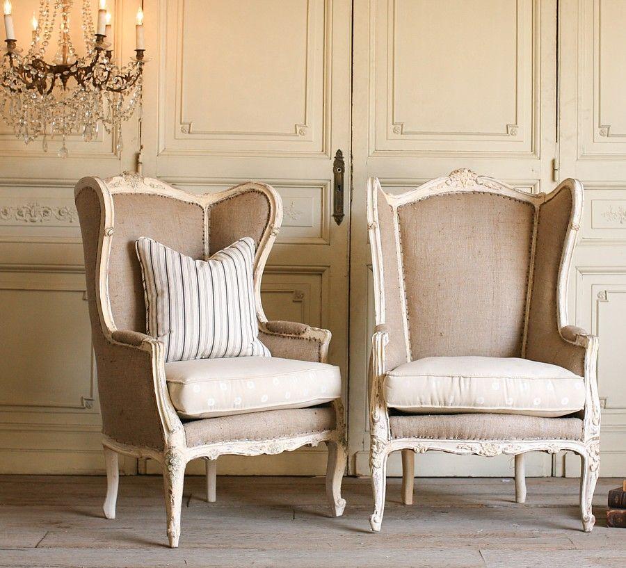 Vintage Shabby Cream White Pair Louis XV Bergere Armchairs