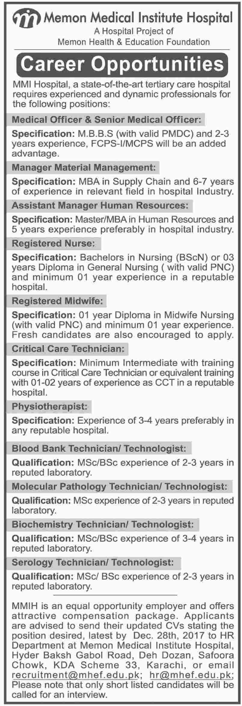Memon Medical Institute Hospital Jobs  In Karachi For Medical
