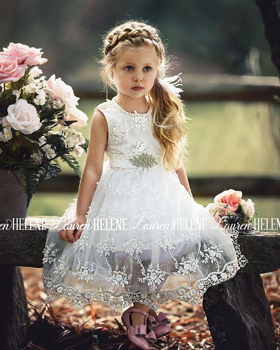 Gorgianna White Lace Flower Girl Dress Wedding Diy Decor Flower