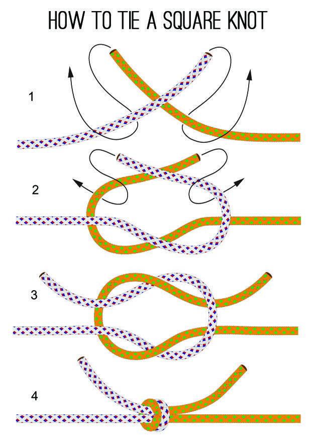 how to tie a square knot knots pinterest knots survival and diy rh pinterest com