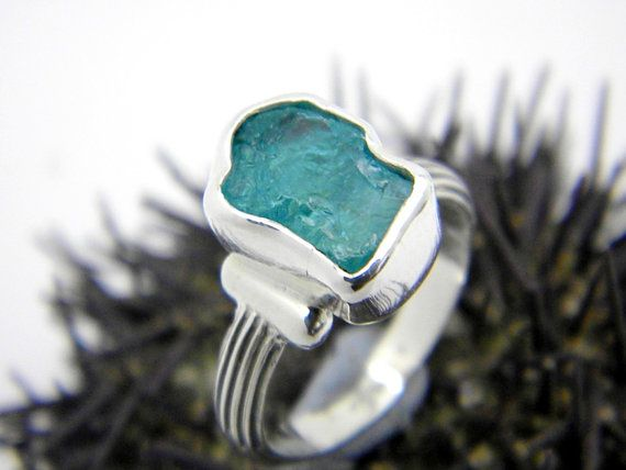 Apatite Ring Sterling Silver Raw Apatite Gemstone Rough