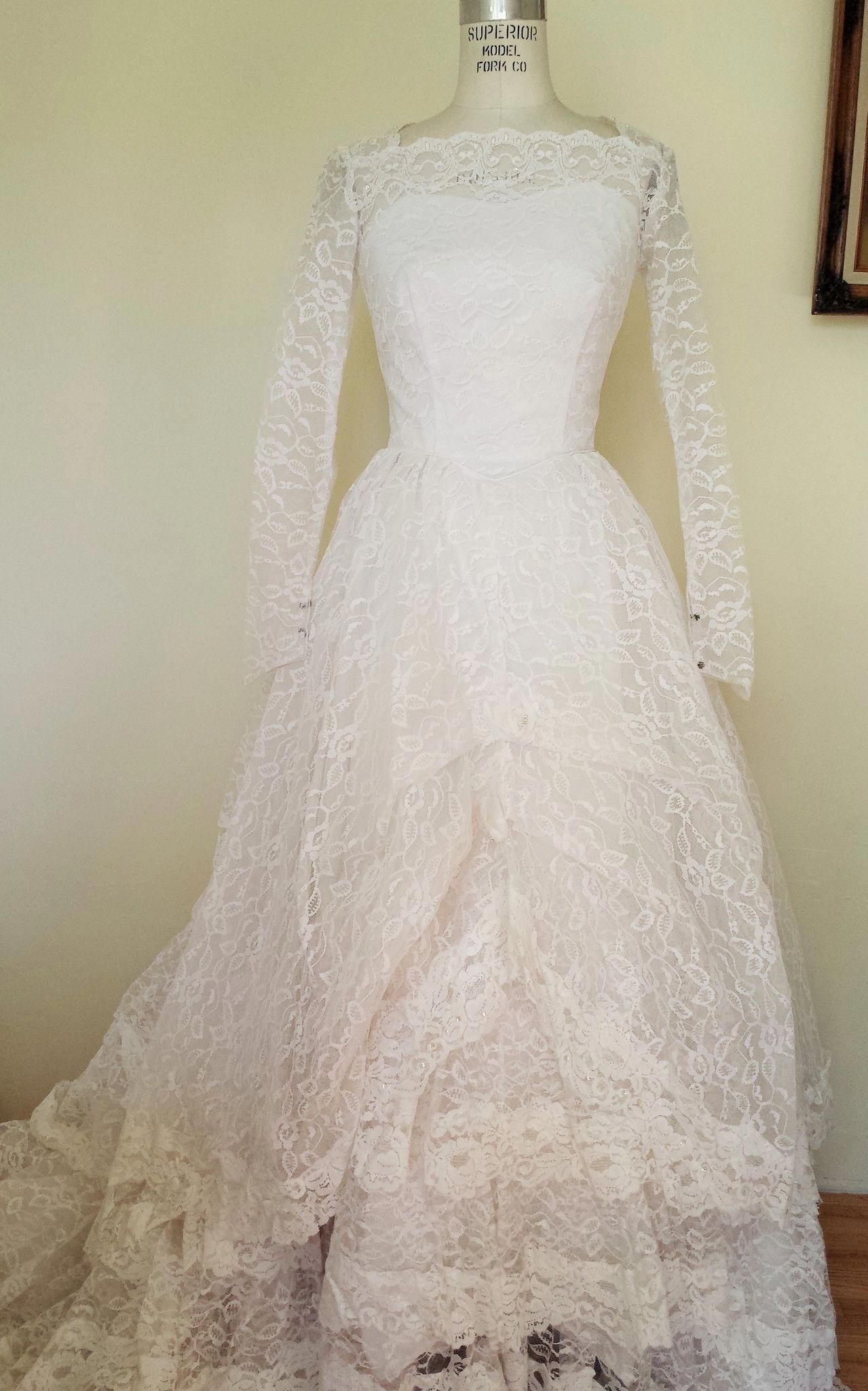 Vintage s grace kelly style lace wedding gown