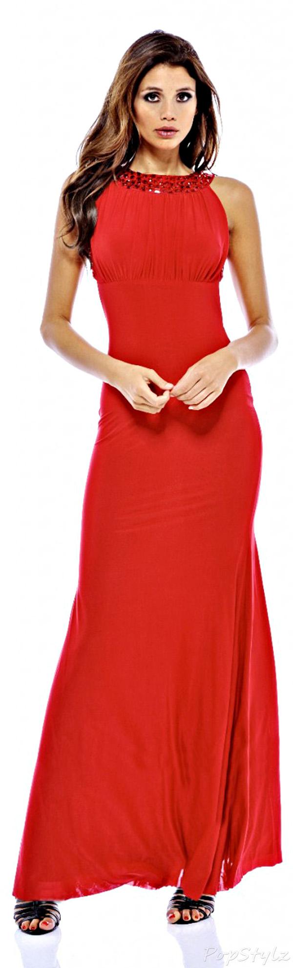 Jewel Strap Backless Maxi Dress