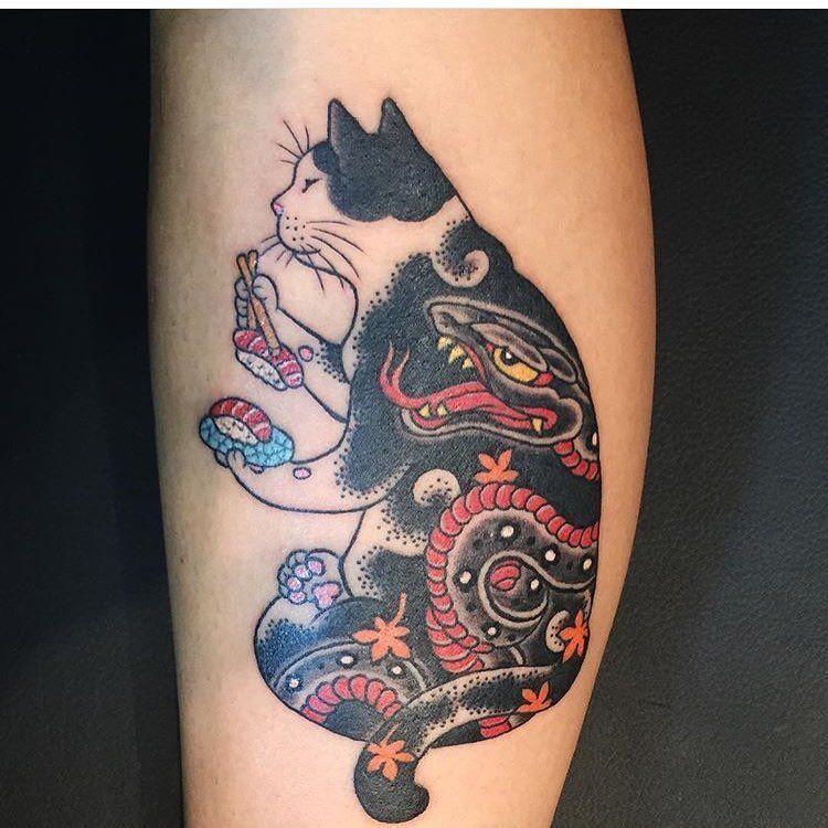 Kazuaki Horitomo Monmon Cat Tattoo Japanese Tattoo Cat Tattoo Designs Irezumi Tattoos