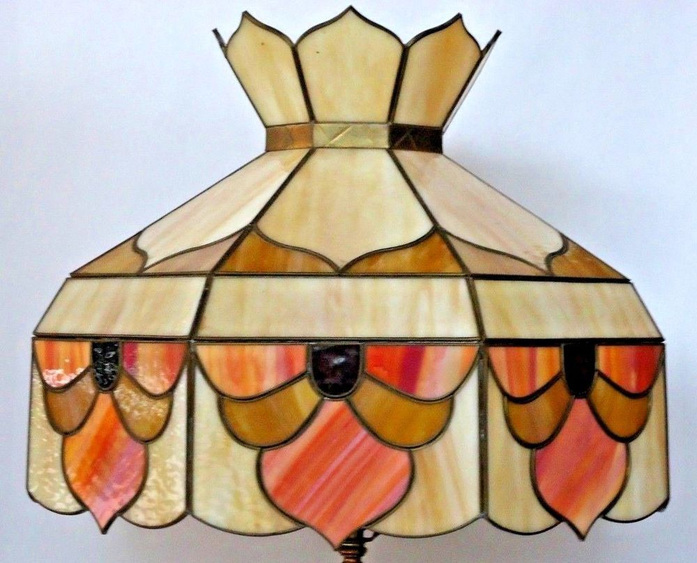 Vintage Tiffany Style Multi Color Stained Glass Lamp Shade