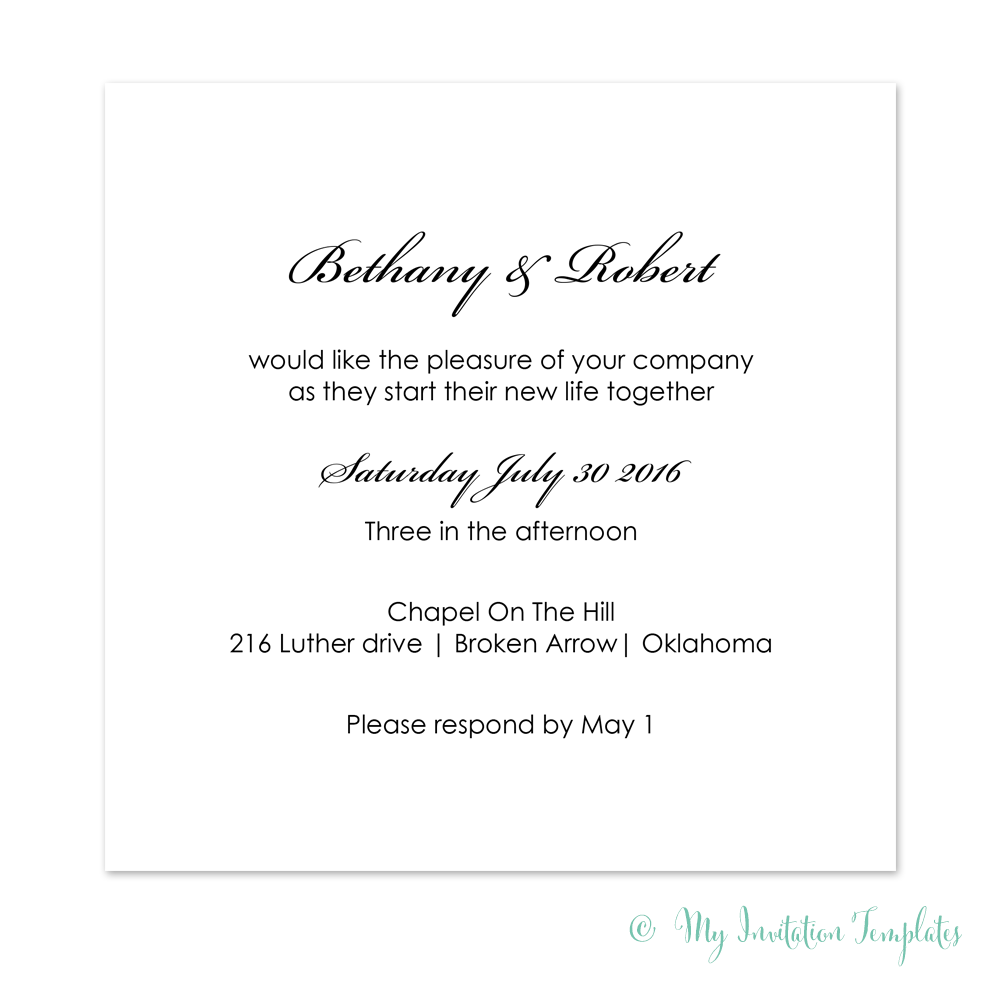 Simple Wedding Invitation Template Diy Minimalist Square