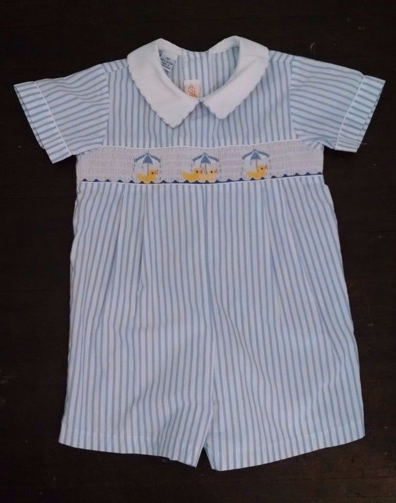 4d3133a46 Anavini Boy Jon Romper 4T Light Blue Striped Smocked Shortall Ducks ...