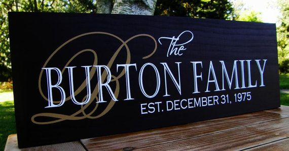 5741b1844b2db Family Established Sign last name sign custom Personalized wedding ...