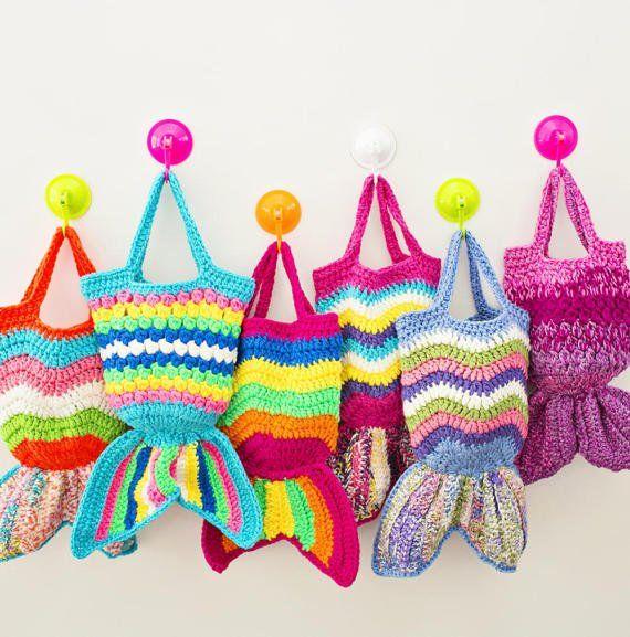 MINT BLUE - Kids Mermaid Crochet Bag, Mermaid Crochet Purse - Kids ...