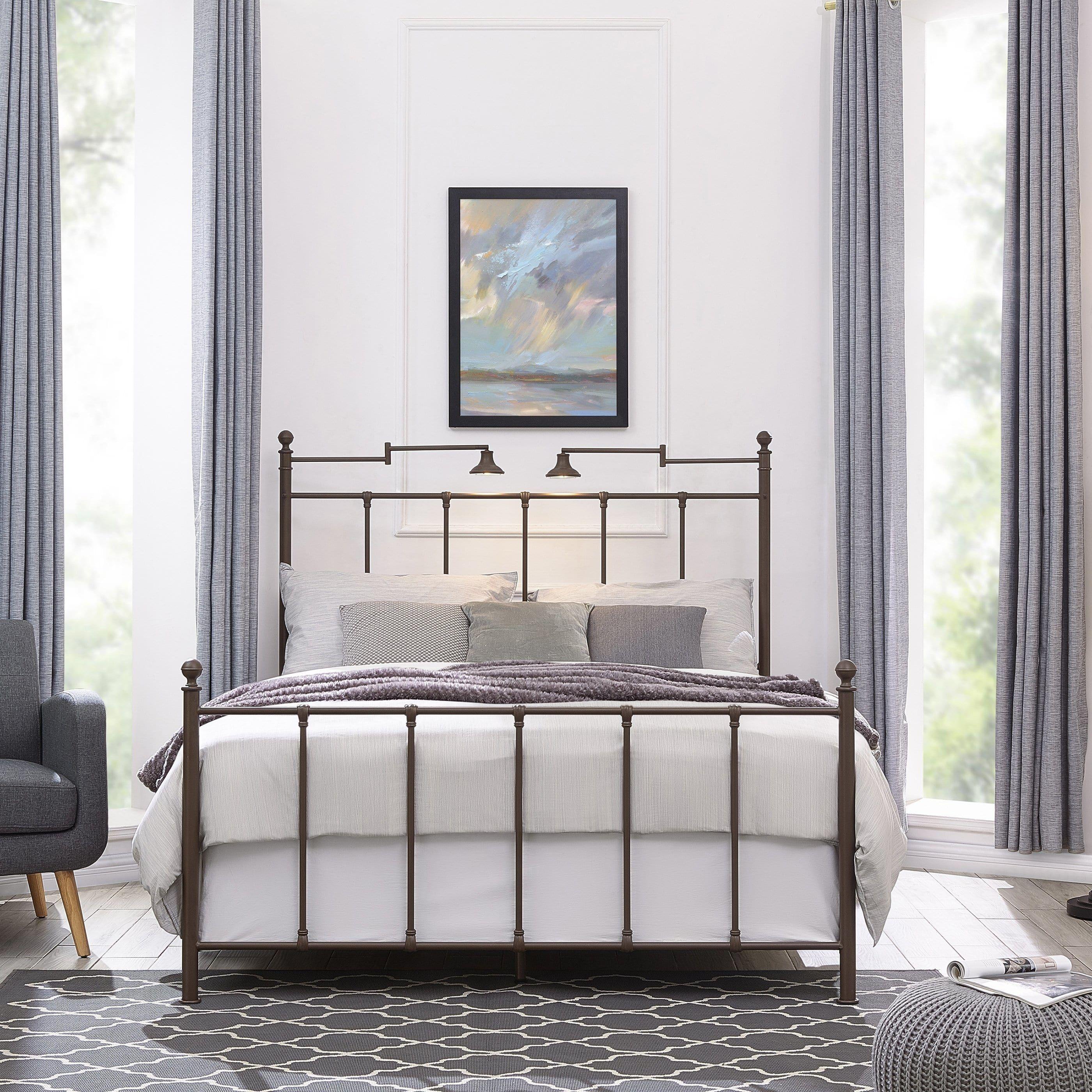 Handy Living Marseille Queen Bronze Metal Bed with Task