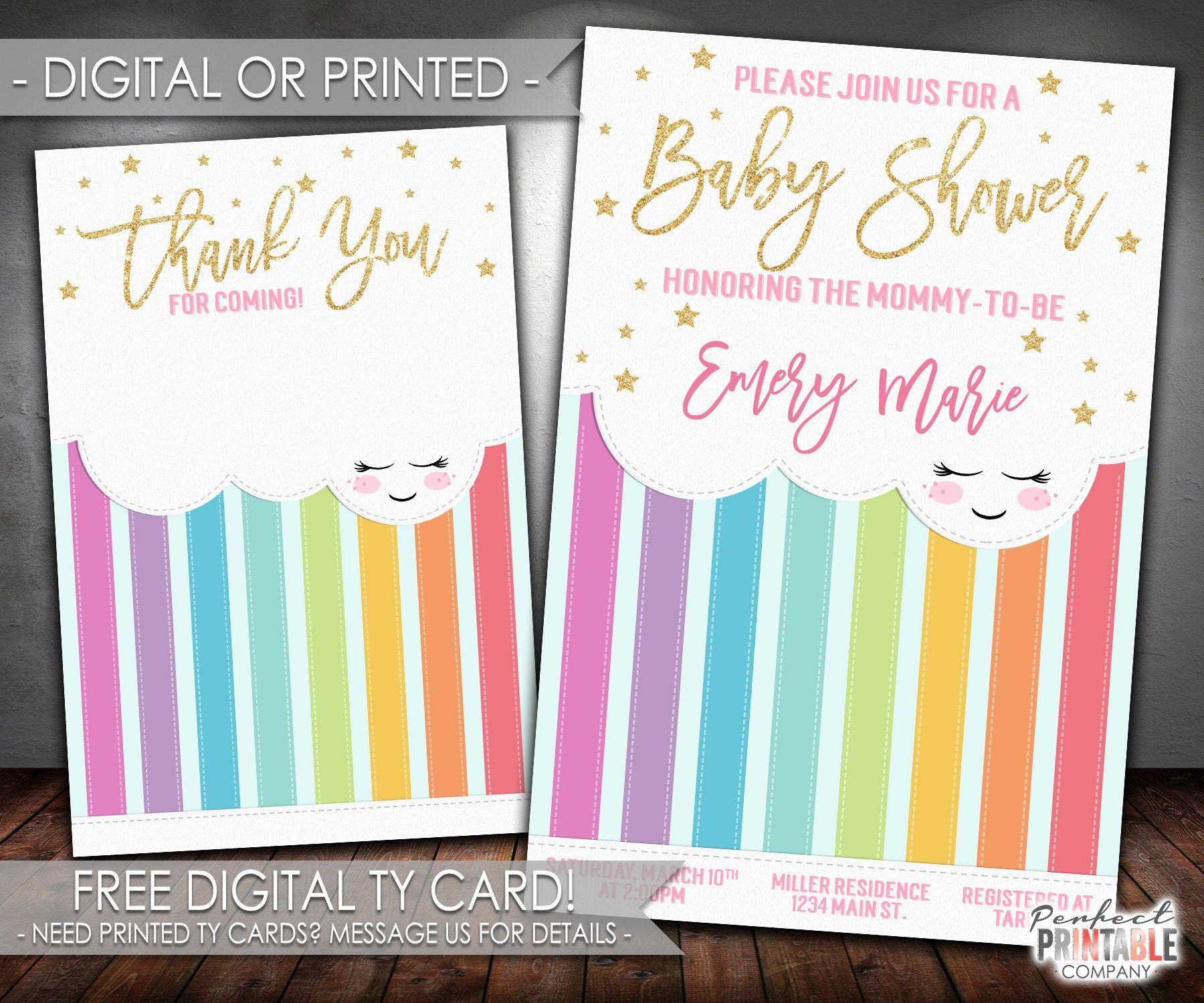 Rainbow Baby Shower Invitation, Rainbow Baby Shower Invite, Rainbow Invitation,