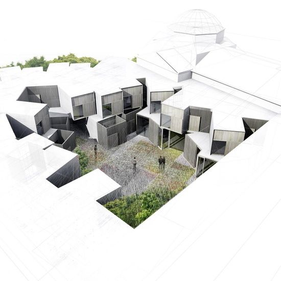 architectural drawings  -the contrast in this is wonderful! allowing the important features of the building to pop out!
