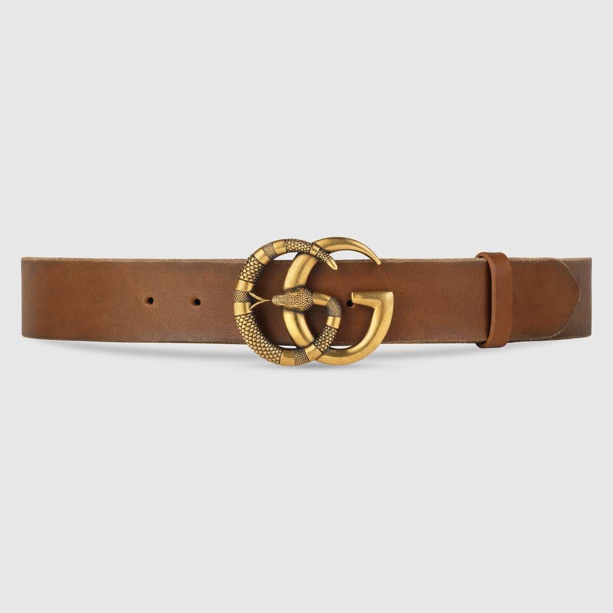 Gucci - Ceinture en cuir à boucle double G avec serpent   ceintures ... d5ba05d02ea