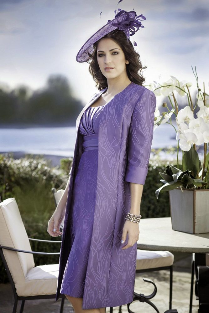 Mother of the bride look by Ispirato IT903 Embossed Print Dress & Frock Coat in Rich Grape