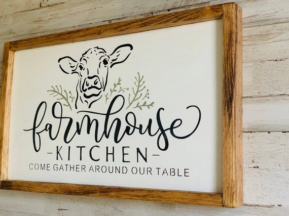 Farmhouse Kitchen Wood Sign Come Gather Around Our Table Etsy In 2021 Cow Decor Signs