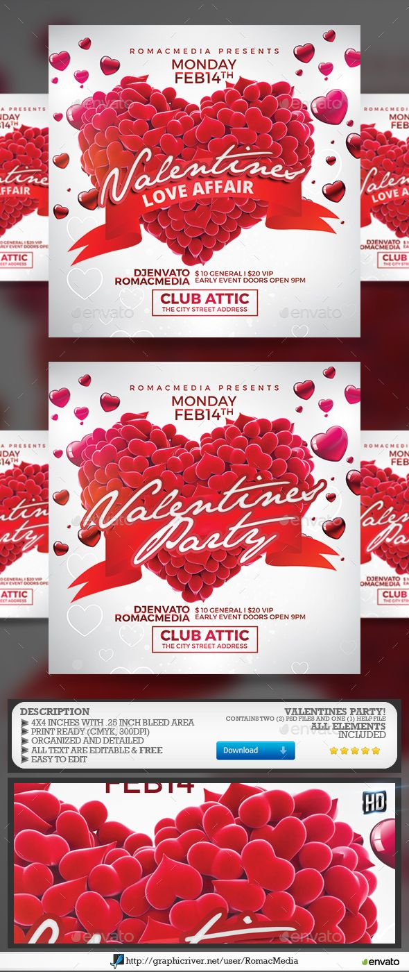 Valentines Flyer Template PSD O Download Business Cards Visit Carte